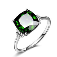 Elegant Women's Wedding Rings 925 Silver Jewelry Emerald Cocktail Ring Size6-10