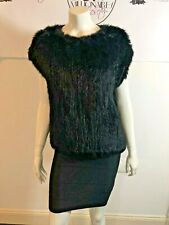 525 AMERICA 10419 $500 BLACK RABBIT FUR SHIRT PONCHO SZ XS
