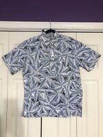 REYN SPOONER All Over Palm Leaves Print Pullover Hawaiian Shirt Medium