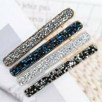 Womens Crystal Long Hair Clip Snap Barrette Hairpin Bobby Hair Accessories Gift