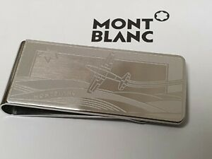 Mont Blanc money clip in stainless steel with aeroplane engraving
