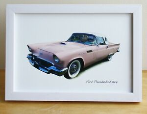 Ford Thunderbird 1957 (Pink) -  4x6in Photo in Black, White or Silvery Frame