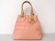 rk5079 Auth Christian Dior Lady Dior Pink Cannage Lambskin Leather Hand Bag