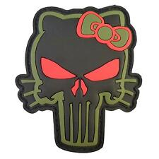 punisher skull hello kitty PVC rubber 3D morale olive drab green army hook patch