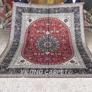 YILONG 8'x10' Large Pictorial Carpets Silk Hand Knotted Handmade Area Rug M278C