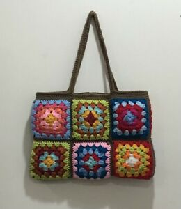 Crochet Granny Squares  Colorful  bag New