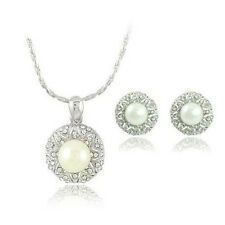 Wedding Bridal Jewellery Set White Pearl Round Studs Earrings & Necklace S118