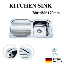 780*480mm Slimline Stainless Steel Kitchen Sink with Drainer Topmount Right Bowl