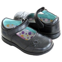 RRP £49 Hush Puppies Kids Girls Marionette Black Leather Mary Jane Smart Shoes