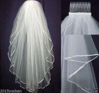 2019 2 Layers Bridal Veils White Wedding Veil Elbow Length Satin Edge With Comb