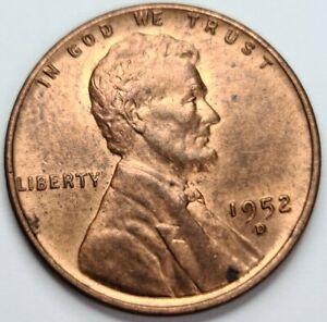 1952 D Lincoln Wheat 1¢ Cent Penny. Denver Mint Mark. UNC. RD/BN
