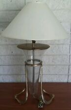 Table Lamp with shade  brass base cone shape body glass art deco vtg