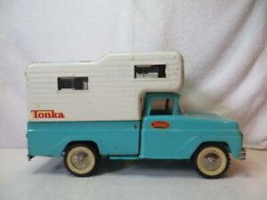 Vintage Turquoise Tonka Steel Pickup Truck / Camper - Very Clean!