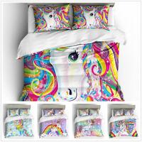 3D Unicorn Kids Duvet Cover Bedding Set Pillowcase Quilt Cover Without Comforter