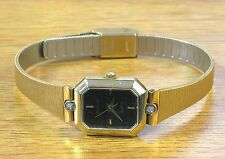 Elgin Gold Tone Vintage Elegant Ladies Quartz Wrist Watch w/ Diamond Bezel