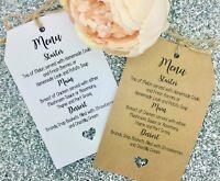 Wedding MENU Card / Tag Favour, Guest Label Kraft/ Napkin Ring