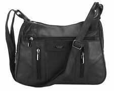 8886270722 Ladies Lorenz Real Leather Messenger Shoulder Cross Body Handbag Black Ad66
