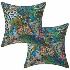 Decorative Kantha Throw Pillows Cover Indian Cotton Cushion Cover Set OF 2pcs 16