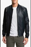 Mens Navy Blue Lambskin Leather Jacket Bomber Size S M L XL 2XL Custom Made