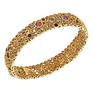 "Roberto Coin 18k Yellow Gold Semiprecious Multicolor Gem 6.5"" Bangle Bracelet"