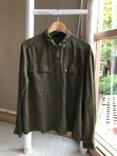 TOPSHOP Khaki Button Down Utility Shirt Blouse Double Pockets Sz 16 XL EUC
