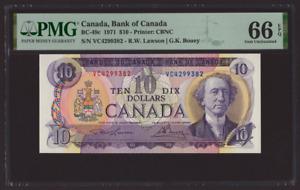 Canada 🇨🇦 1971 - $10 Dollars Lawson Bouey Sig. - PMG Gem UNC 66 EPQ