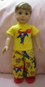 Superman Yellow PJ Set fits American Boy Doll 18 Inch Clothes Seller lsful