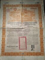 China 1898 Chinese Imperial Government £50 Gold Coupons NOT CANCELLED Bond Share
