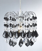 Black & Clear Hanging Acrylic Beaded Ceiling Lampshade  28cm