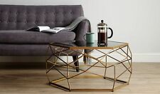 Glass Top Geometric Coffee Table Modern Home Living Room Furniture Metal Frame