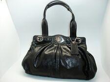Coach 13914 Black Leather Pleated Garnet Satchel Nickel TurnLock Handbag/Shoulde