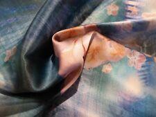 BREATHTAKING Designer Silk Charmeuse!! Watercolor Flowers Print! FABULOUS!