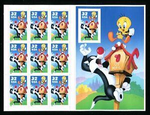 3205 Sylvester & Tweety Sheet of 10 No Die Cutting Right Stamp 32¢ Stamp