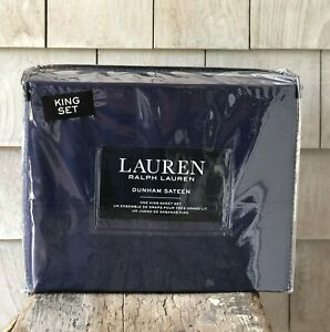 Ralph Lauren Dunham Sateen Solid Navy CADET BLUE 4 Pc KING Sheet Set ~ New