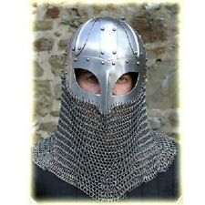 Historical Medieval Viking Helmet Battle Armor+18G Steel and Chain mail sca