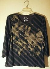Nicole Miller Black And Brown Striped Floral 3/4 Sleeve Cotton Top. Size 2X.