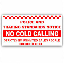 No Cold Calling Salesman Callers External Window/Door Sticker Sign-Small 87x43mm