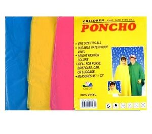 3 Kids Children Poncho Cape Camping Festival Theme Park Rain Outdoor Wet Outing
