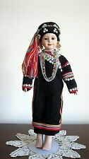 OOAK Porcelain Thai Lahu Hill Tribe Standing Doll of Northern Thailand (New)  A