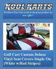 Club Car Precedent Rear Flip Seat and Custom Seat Cover Combo Pkg(White/Red Str)