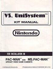 NINTENDO VS UNISYSTEM VIDEO ARCADE GAME KIT MANUAL PAC MAN + MS PACMAN 1985