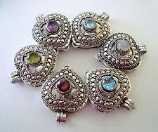 heart shape Sterling silver wish prayer locket pendant peridot garnet amethyst