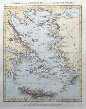 Grecia, Creta, Rodi, isole dell'Egeo un popolo muore ORIGINALE ANTICO MAPPA 1828