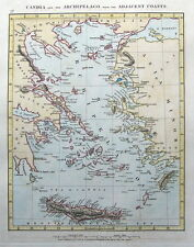 GREECE, CRETE, RHODES, AEGEAN ISLANDS Arrowsmith original antique map 1828