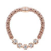 Rose Gold Plated Bracelet Clear White Sparkly Zircon Bracelet Bangle Women Gift