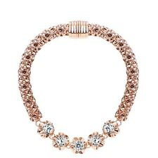 Rose Gold Plated Bracelet Clear White Sparkly Zircon Bracelet Bangle Women Gift