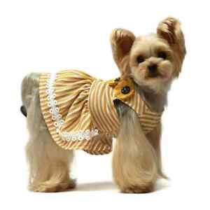 Fitwarm Yellow Dasiy Dog Dress Pet Clothes Summer Shirt Stripe Apparel Princess