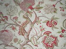Scalamandre Curtain Fabric PONDICHERRY 2.0m Turkey Red/Lime Cotton Design 200cm