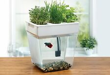 AquaFarm Self Cleaning Fish Tank Shatter Resistant Includes Gravel Organic Seeds