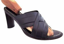COLE HAAN Country Black Wide Strap Woven Leather Heeled Sandals Size 8 B